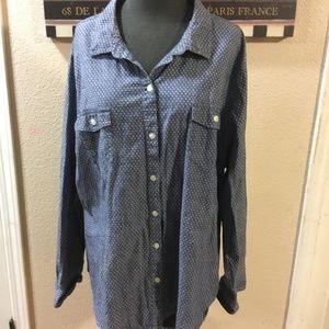 *Plus size* button up denim shirt